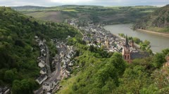 Small village at rhine somewhere in germany Stock Footage
