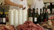 Stock Video Footage of Food and Wine Stand