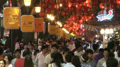 Shopping street at night in Guangzhou, China Stock Footage