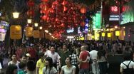 Stock Video Footage of Shopping street, neon lights, consumption, busy, crowded, nightlife, China