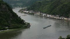 Ship on rhine at loreley, rhine germany Stock Footage