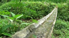 Irrigation system with bamboo in village in Guangxi province, China - stock footage