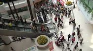 Stock Video Footage of People on escalators in a shopping mall in Guangzhou