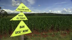 Anti Coal Gas Protest Sign - stock footage