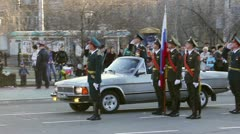 Commander of the parade in car - stock footage
