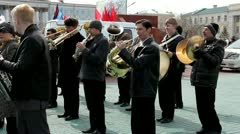 City brass band plays in the square Stock Footage
