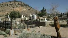 Generic old west mountain graveyard pan, 907  Stock Footage