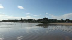 St Andrews skyline from beach Fife Stock Footage