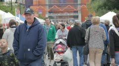 Stock Footage - Large Diverse Crowd at Downtown Market - Walkng and talking Stock Footage