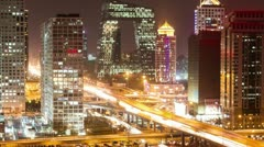 Beijing Central Business District night scene time lapse Stock Footage
