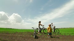 Family On Bikes Outdoors - stock footage