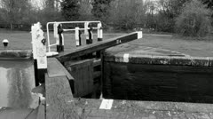 Black and White Canal Lock Stock Footage
