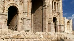 Hadrian's Arch of Triumph Stock Footage