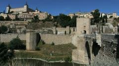 Toledo Puente de Alcantara and alcazar - stock footage