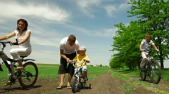 Cycling Family - stock footage