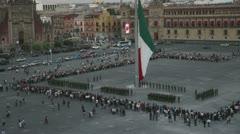 Zocalo flag mexico city flag change Stock Footage