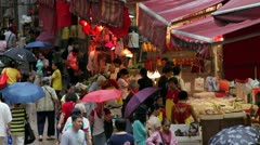 Busy street market, Wan Chai, China Stock Footage