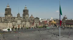 zocalo flag mexico city cathedral - stock footage