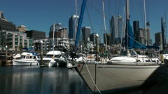 Marina on Seattle waterfront Stock Footage