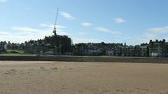 St Andrews skyline from beach Fife Scotland Stock Footage