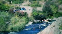 Timelapse of camping near river (tilt-shift) - stock footage