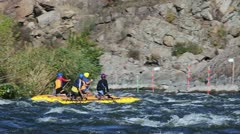 Slow-motion of rafting on river. Stock Footage