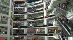 Inside a shopping mall in Guangzhou, China Stock Footage