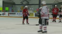 Sports & fitness, hockey game shot on net goal, from the benches, #3 Stock Footage