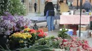 Stock Footage - Beautiful shot of flowers and produce at Farmers Market Stock Footage