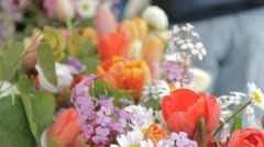 Stock Footage - Beautiful shot of Flowers at Famers Market Stock Footage