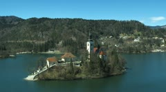 Bled Island flyover Stock Footage