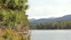 View of the mountains and the lake Stock Footage