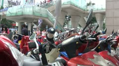 Motorbike parking spot in downtown Chengdu, China Stock Footage