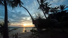 Beach Sunset Timelapse with palm tree silhouettes @ Koh Phangan, Thailand - stock footage