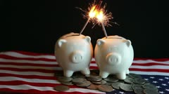 Patriotic profit sharing piggy banks Stock Footage