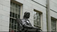 John Harvard Statue Harvard Yard Cambridge MVI 3399 Stock Footage