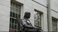 Stock Video Footage of John Harvard Statue Harvard Yard Cambridge MVI 3399