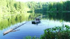 Rowboat Fishing on Lake - stock footage