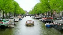 Amsterdam canal boat - stock footage