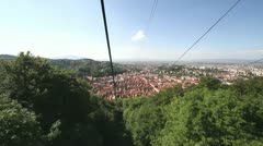 Descending by cable cab from Tampa to Brasov city Stock Footage