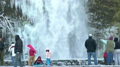 Winter Waterfall Tourists Stock Footage