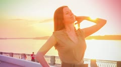 Woman rainbow - stock footage