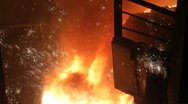 Stock Video Footage of Smelting of liquid metal from blast furnace