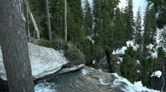 Crane Reveals Spring Snow Melt, Cascades - stock footage