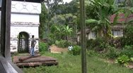 From a moving train - rural area in Sri Lanka Stock Footage