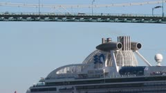 Cruise Ship Passing Under Bridge in Vancouver, Canada Stock Footage