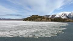 Kluane Lake Ice Island and Wind Stock Footage
