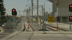 West leg LRT project (under construction) through Mewatta Park, tight frame Stock Footage