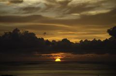 Incredible sunset during tsunami warning in Phuket - stock photo