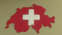 Swiss map and flag Stock Footage